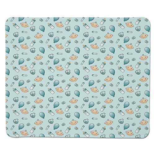 Price comparison product image Mouse Pad Unique Custom Printed Mousepad [ Baby,Infant Head with Balloons Pacifiers and Milk Bottles Newborn Inspired Decorative,Baby Blue Turquoise Tan ] Stitched Edge Non Slip Rubber