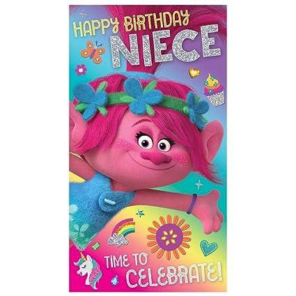 Tarjeta de cumpleaños de Trolls: Amazon.es: Oficina y papelería