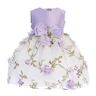 9a307b00569 Lilac Flower Girls Floral Print Dress 3D Flowers Easter Wedding Party Baby  Toddler Kids (2T