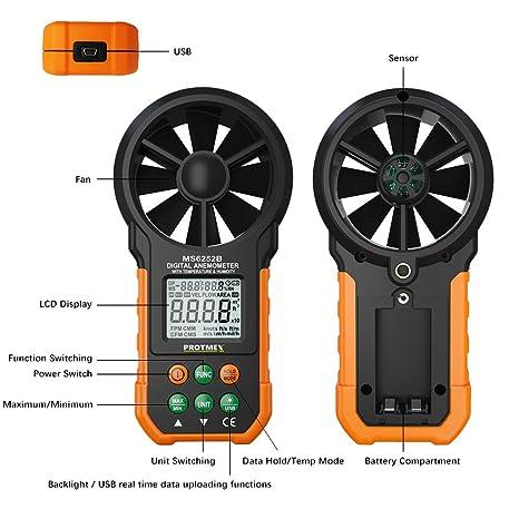 Amazon.com : Protmex MS6252B Digital Anemometer Humidity Temperature Testers Meters USB Handheld LCD Electronic Wind Speed Meter Air Volume Measuring Meter ...