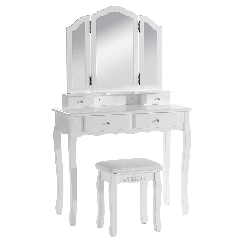 WOLTU MB6027cm Coiffeuse table de maquillage avec 3 miroirs et 1 tabouret+4 tiroirs en MDF et en bois de pin massif