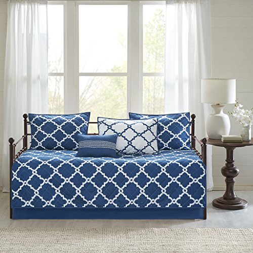Day Quilt - Madison Park Essentials Merritt Daybed Size Quilt Bedding Set - Navy, Geometric - 6 Piece Bedding Quilt Coverlets - Ultra Soft Microfiber Bed Quilts Quilted Coverlet