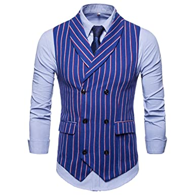 2019 Men S Simple Dress Vest Striped Double Breasted Office Business