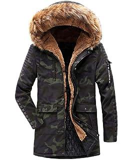 Brinny Parka Homme Hiver Long Manteau avec Capuche Fourrure Veste Polaire  Rembourré épais Chaud Blouson Velours 8e4a3ca2db06