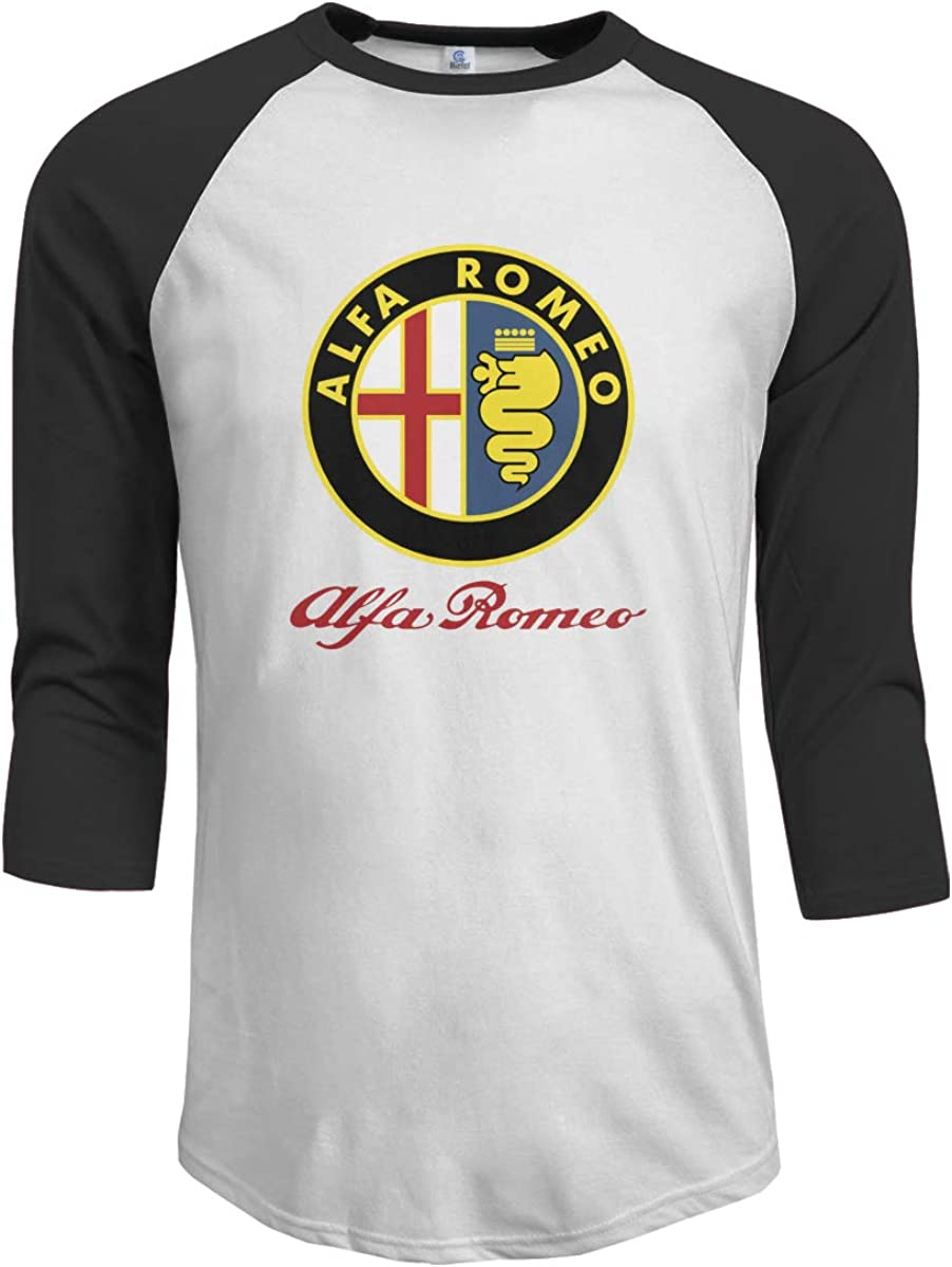 Mens Baseball Tee T-Shirt Golden Al-FA Ro-meo Circle Euro 3/4 Sleeve Casual Jersey Shirts