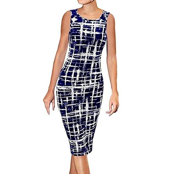 QinMM Vestido formal oficina bodycon para mujer, vestido casual del verano sin mangas fiesta (