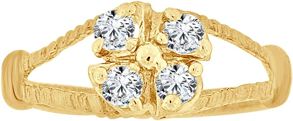 Mini Size Child Ring Created CZs Cluster Design 14k Yellow Gold