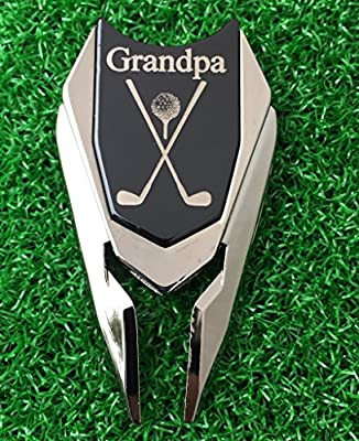GRANDPA Engraved Golf Gift Divot Tool and Ball Marker (Black) - Dad Personalized Gift, Dad Birthday Gift, Gift for Dad, Gift for Him Father's Day Grandfather Granddad Gift