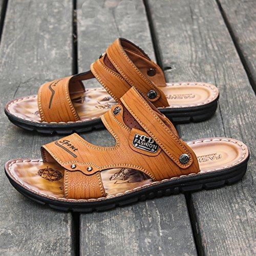 ZHANGJIA Herren Fashion Schuhe, Toe Sandalen, Sommer Legere Schuhe, Koreanisch Koreanisch Koreanisch Weichen Boden Dual-Purpose Rutschfeste Hausschuhe, 44, Gelb 67862 3e0366