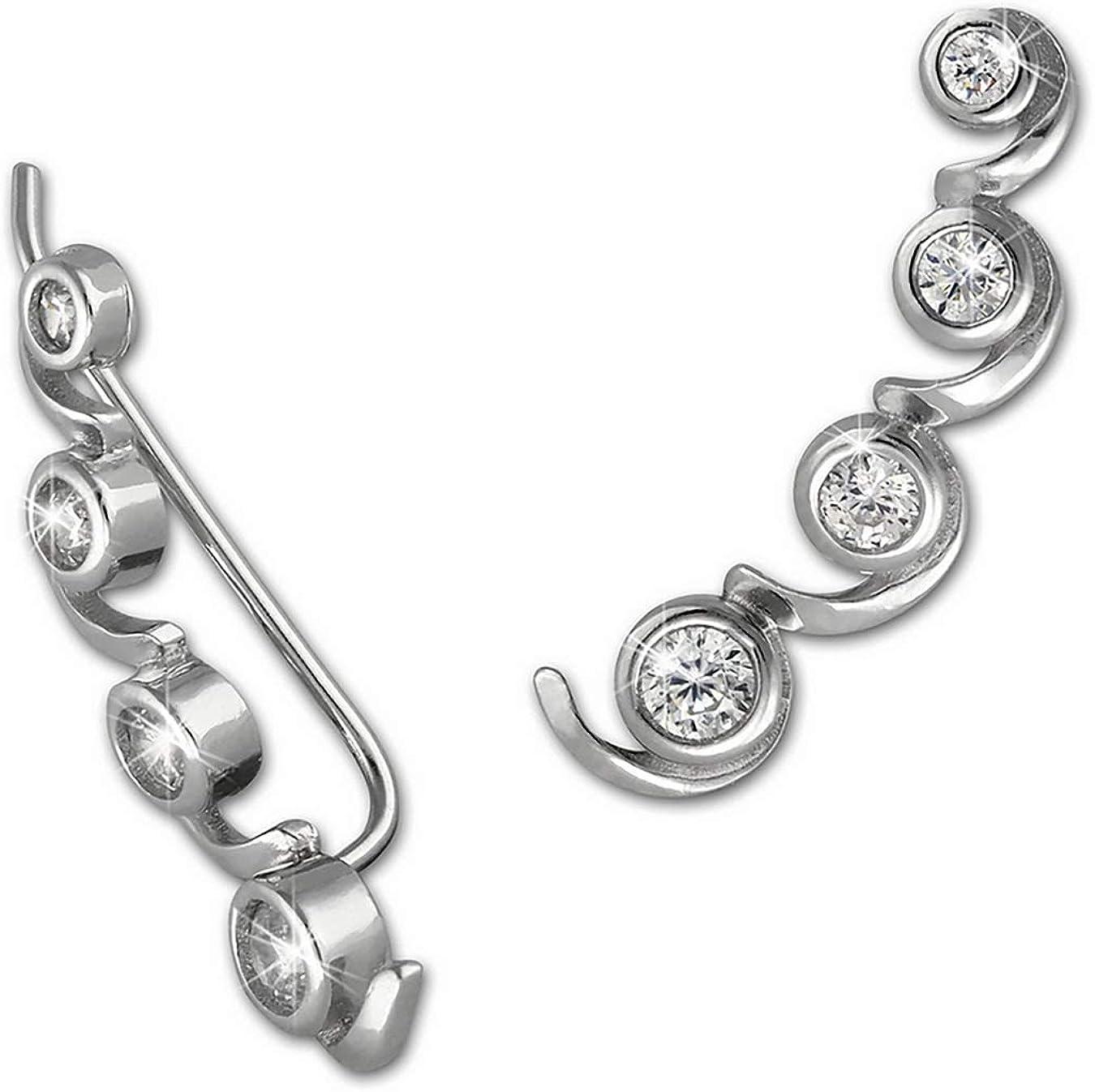 SilberDream weiß Ear Cuff Ohrringe Zirkonia 925 Silber Damen Ohrklemmen GSO471W
