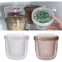 XYXK Double-layer Draining Spring Onion Storage Box Round Drain Sealed Box Food Container Kitchen Refrigerator Organizer…