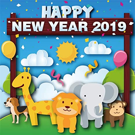 leyiyi 7x7ft cartoon happy new year backdrop zoo animals wild life giraff elephant confetti blue sky
