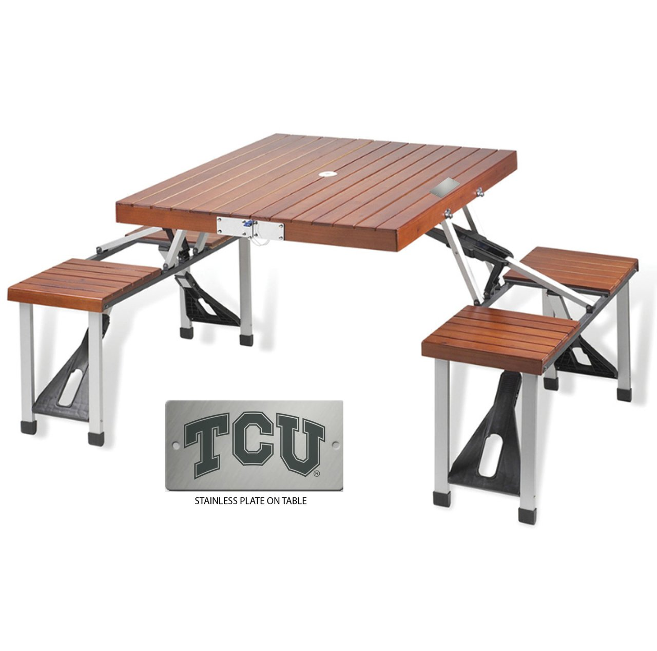 Texas Christian Folding Picnic Table for 4 by The College Artisan