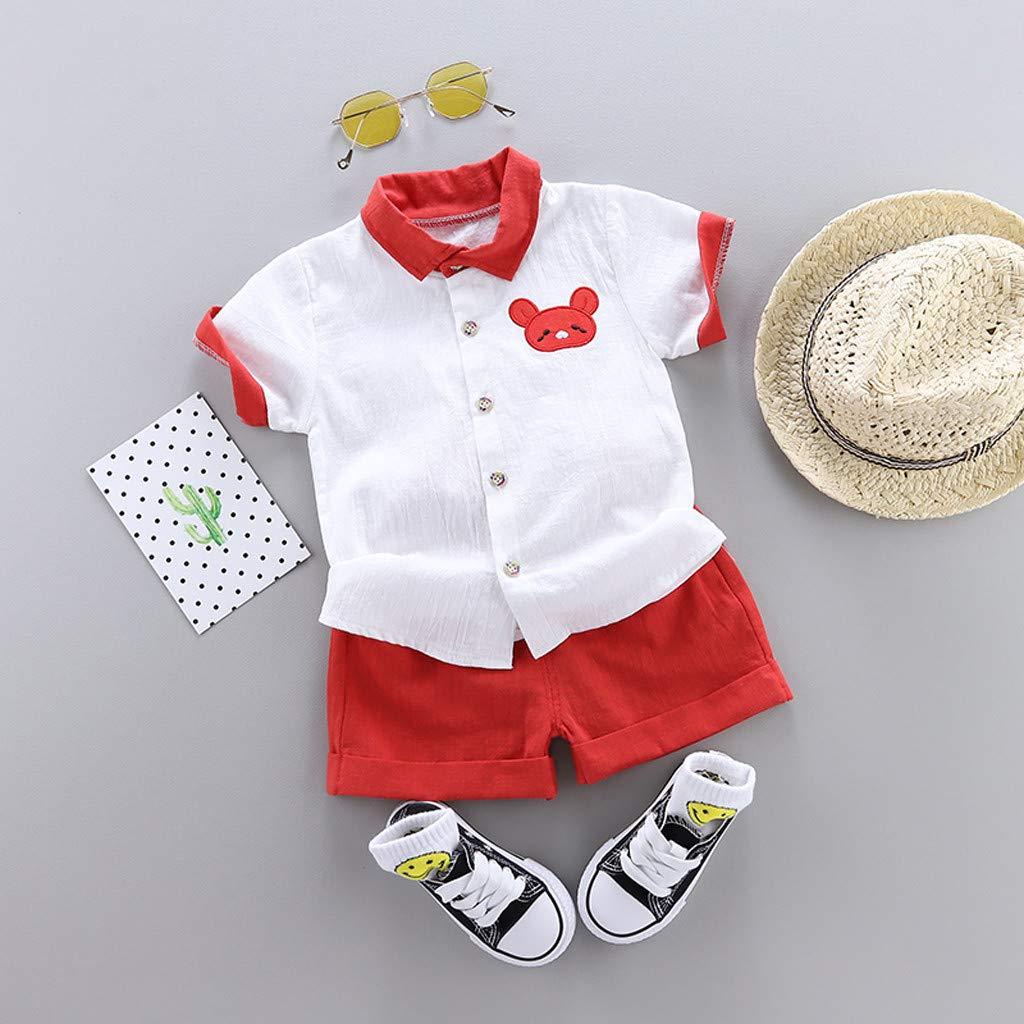 Summer Little Boys Embroidered Bear Short Sleeve Shirt+Shorts 2Pcs Outfits Sets