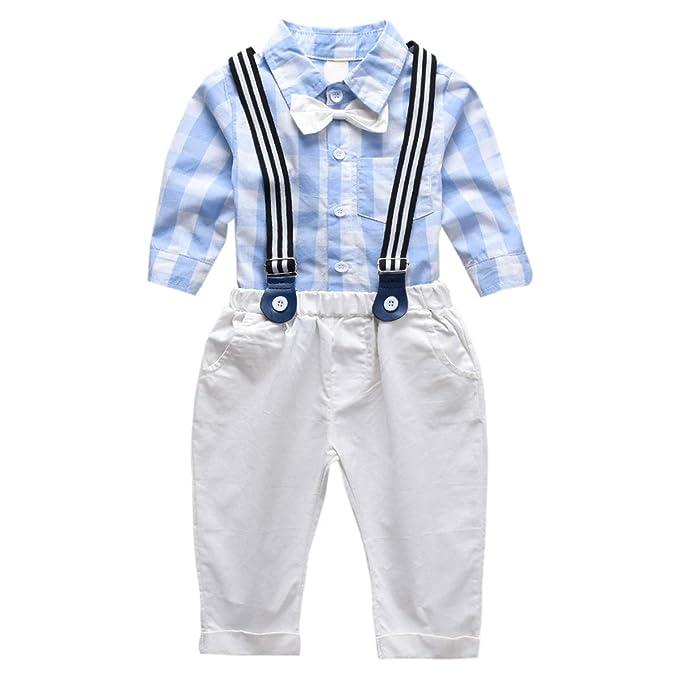 DaMohony Camisa de Cuadros Pantalones de Tirantes para Niño Traje ...