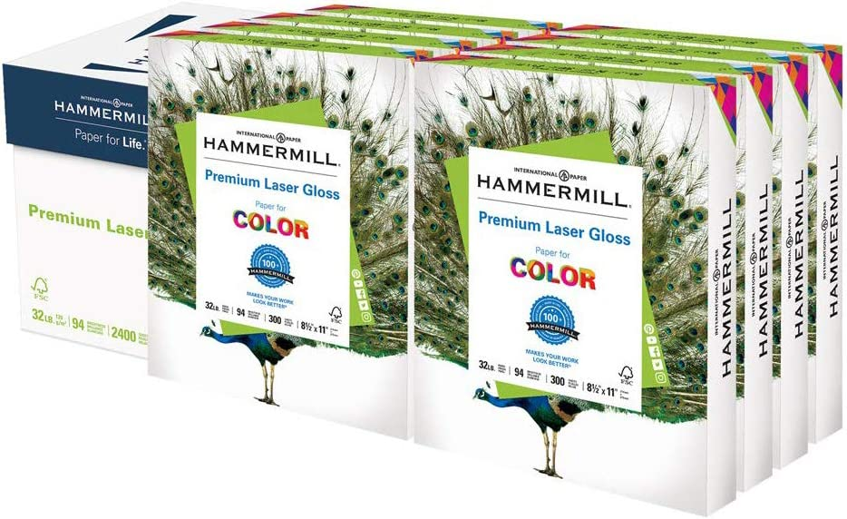 Hammermill Premium Laser Gloss Paper 32lb Copy Paper, 8.5x 11, 8 Packs of 300 Sheets, 2, 400 Total Sheets, Made in USA, 94 Bright, Acid Free Glossy Printer Paper, 163110C : Laser Printer Paper : Office Products