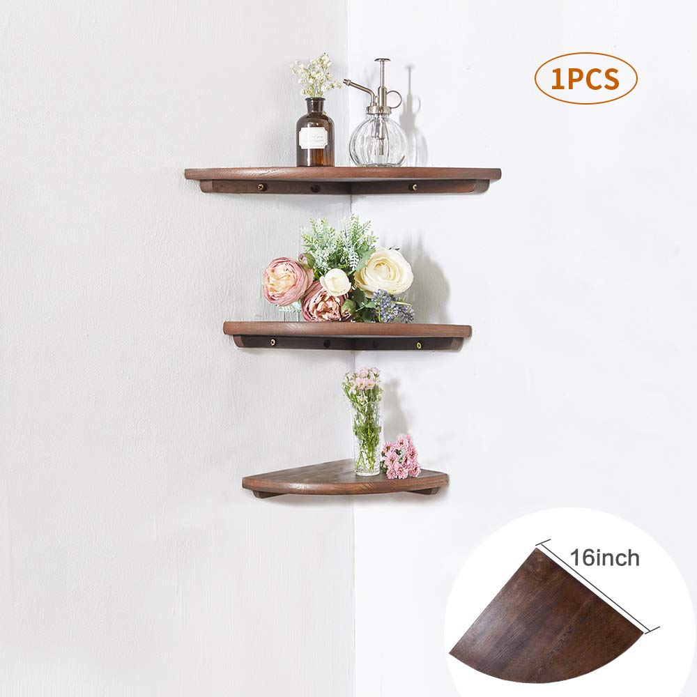 """INMAN Wooden Corner Shelf, 1 Pcs Round End Hanging Wall Mount Floating Shelves Storage Shelving Table Bookshelf Drawers Display Racks Bedroom Office Home Décor Accents (Walnut, 16"""")"""