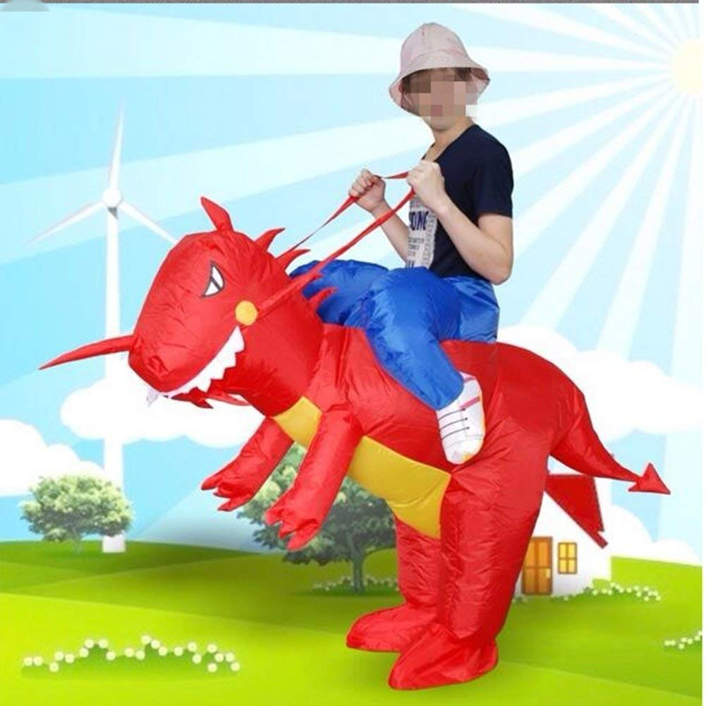 xiaoyi Child Inflatable Size Red Dinosaur toys Cosplay Jumpsuit Halloween Party Halloween Fancy Dress Blow Up Party Cosplay Costume (Child Dinosaur)