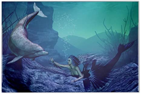 Piastrella fantasia motivo delfino sirena ceramica stampato 20x30 cm