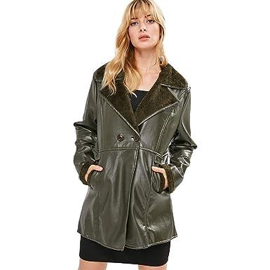 5c7af996722 Amazon.com  Orangeskycn Womens Faux Leather Jackets Plus Size Winter Warm  Long Velvet Lapel Coat  Clothing