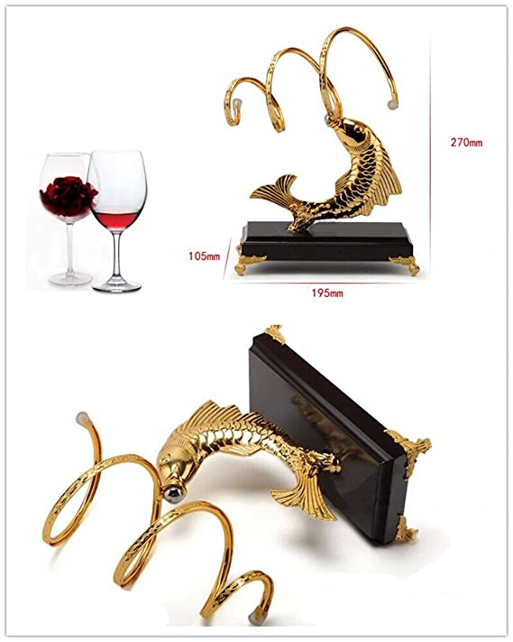 dorado LL-COEUR Carpa Soporte Botella de Vino Decorativo Botellero Vino Original Artesanía 195 x 105 x 270 mm Botelleros Utensilios de bar