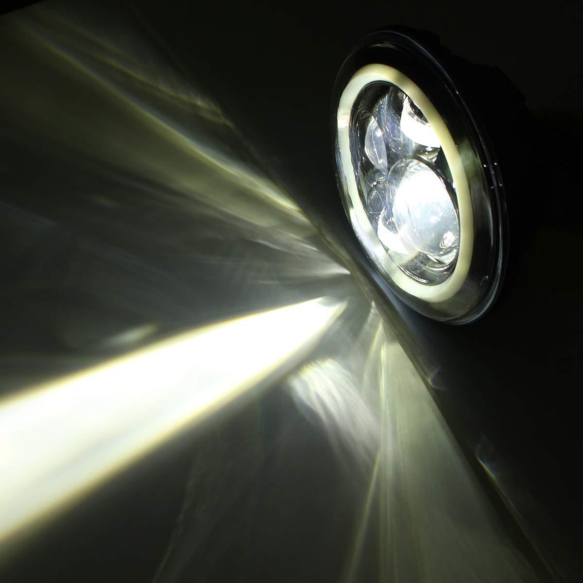 12-30V 7 Inch Round LED Front Headlights Halo Angle Eyes Light for Wrangler JK TJ 97-15 by Topker (Image #7)