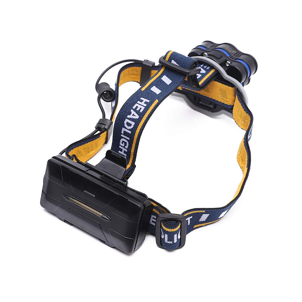 Outdoor Work Camping and E P MORGAN Headlamp,1800 Lumen 4 LED Hiking Running Cycling 2 COB Work Headlight 8 Modes Rechargeable 18650 Batteries Waterproof,Headlamp flashlight for Running Camping Fishing