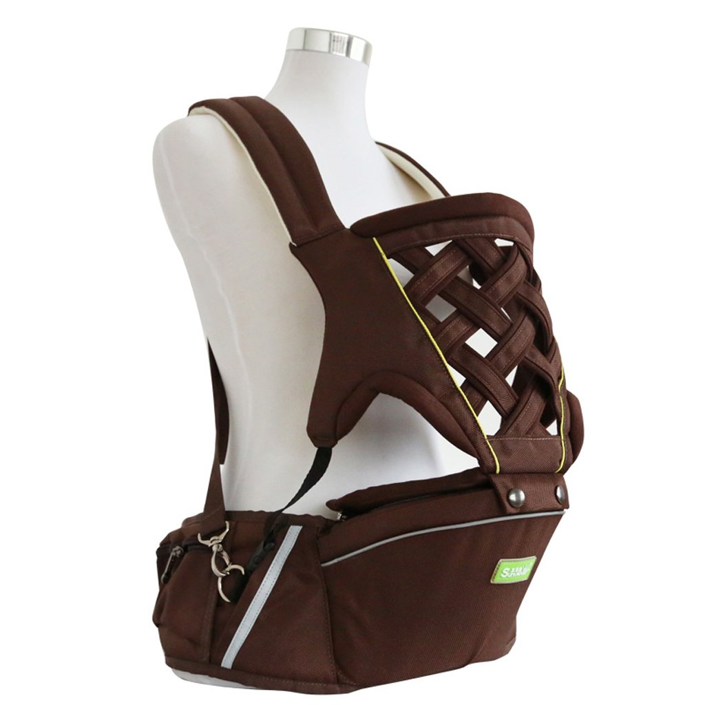 Breathable Baby Belt Waist Stool, Portable Removable Seat, Adjustable Stereo Backpack, Baby Carriage, 70-110cm, Load-bearing 20kg (Color : Brown)