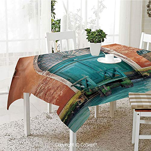 Roll Cinn - Wrinkle Free and Stain Resistant Tablecloth,Ancient Building with Antique Door Entrance City on Water Historical Urban Decorative,Spill Proof,Machine Washable,Tablecloth for Use(60.23