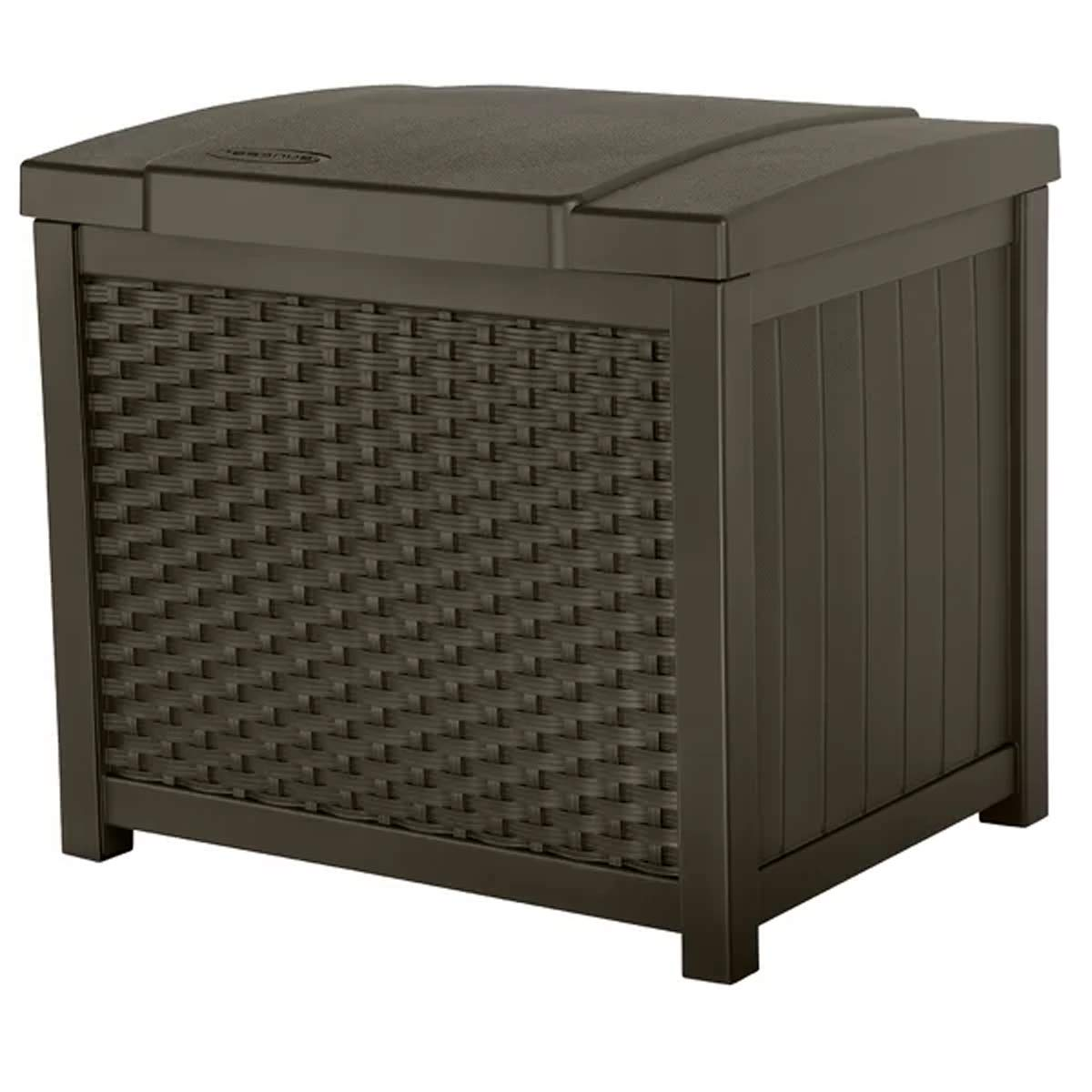 J&M Outdoor Patio Resin Deck Box 22 Gallon Garden Supplies Storage Container in Brown Finish