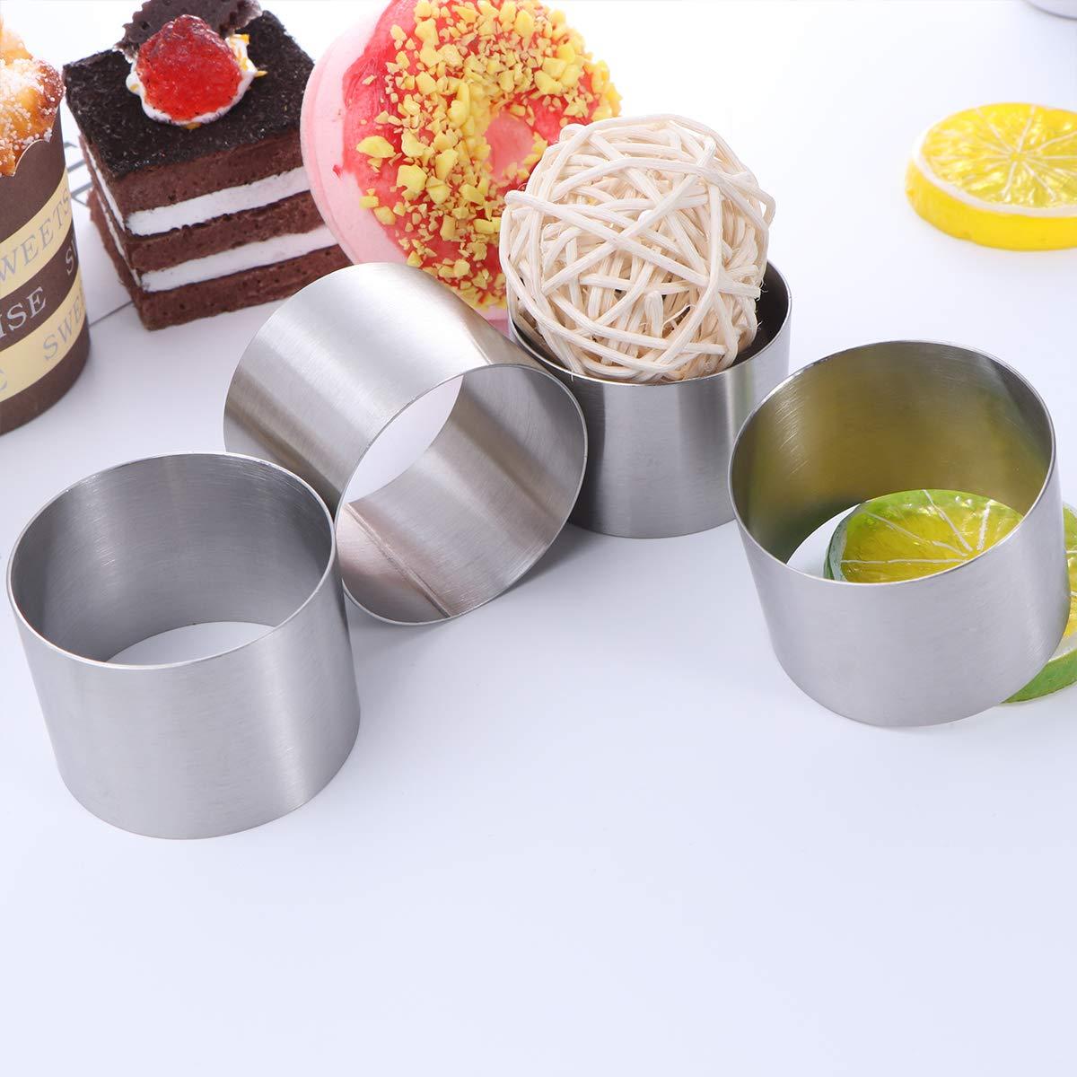 UPKOCH 4 runde Mousse Kuchen Ausstechform Dessert Ring Geb/äckform Backwerkzeug