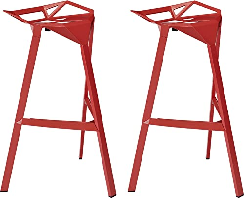 Modway Launch Stacking Bar Stool Set of 2 in Red