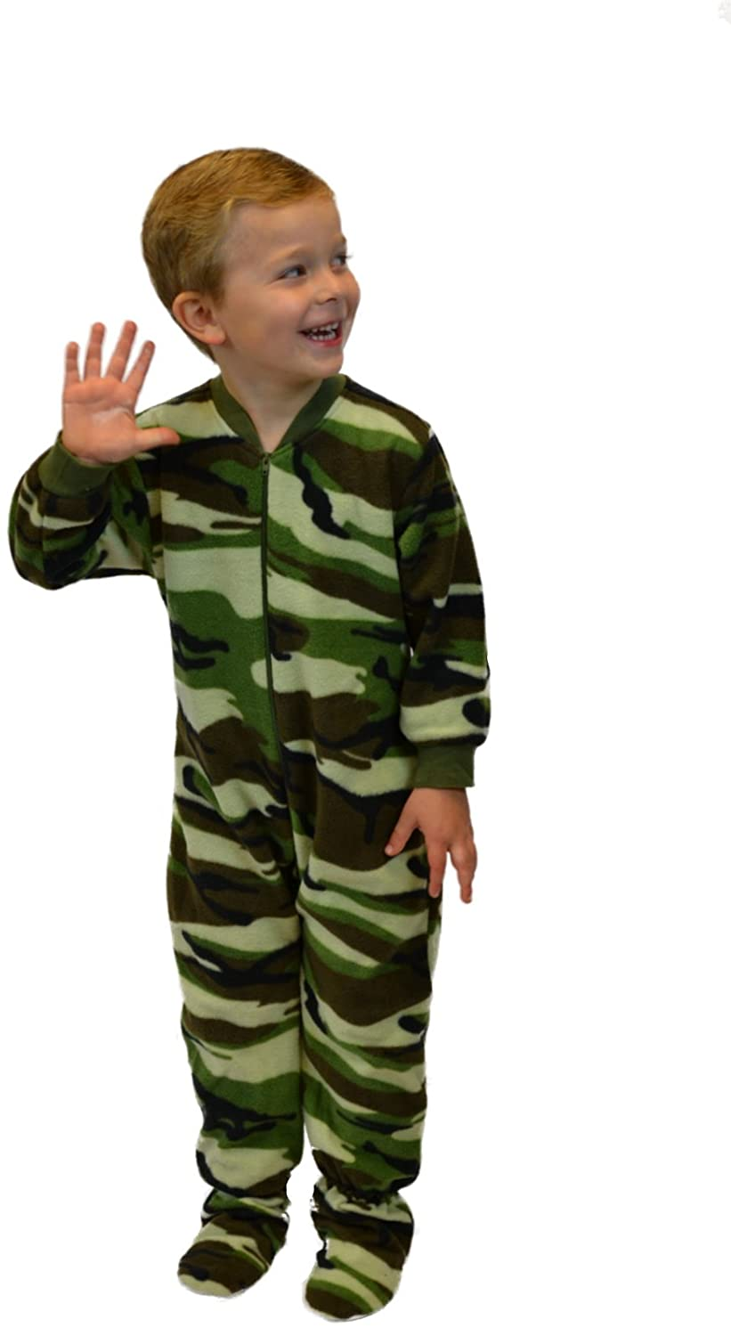 Amazon.com: Little Boys Infant Toddler Green Camo Fleece Footed Pajamas Onesie Sleeper 12M - 4T: Clothing