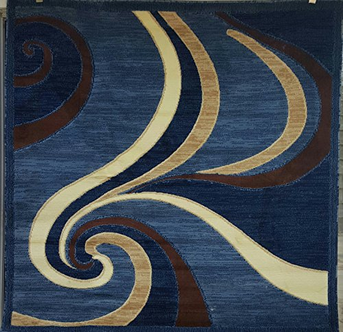 Americana Modern Square Contemporary Area Rug Blue Swirl Design 144 (7 Feet 3 Inch X 7 Feet 3 inch)