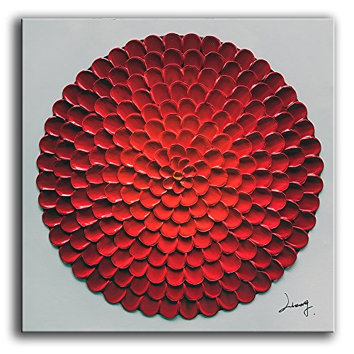 - YaSheng Art - 3D Abstract Oil Painting On Canvas Red Roundness Flowers Paintings Modern Home Interior Decor Abstract Artwork Paintings Ready to hang 30x30inch