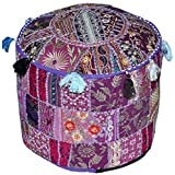 "Indian Living Room Pouf, Foot Stool, Round Ottoman Cover Pouf,Traditional Handmade Decorative Patchwork Ottoman Cover,Indian Home Decor Cotton Cushion Ottoman Cover 18 x 15"" inches (Purple)"