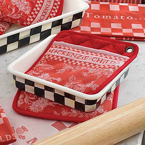 Square Baking Pan - Stainless Steel Enamel Courtly Check Black and White - 8'' Wide and Long 2'' Deep Bakeware by MacKenzie-Childs by MacKenzie-Childs (Image #2)