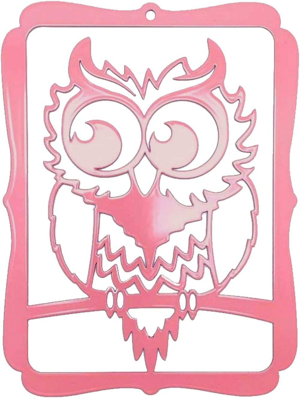 Pet-Deco Owl Home Decor- Metal Owl Wall Decor for Doors, Living Room, Kitchen, Office or Kids Room- Symbolizes Magic, Wisdom and Mystery, High Grade Steel Plates, Gift for Owl Lovers (Pink Owl)
