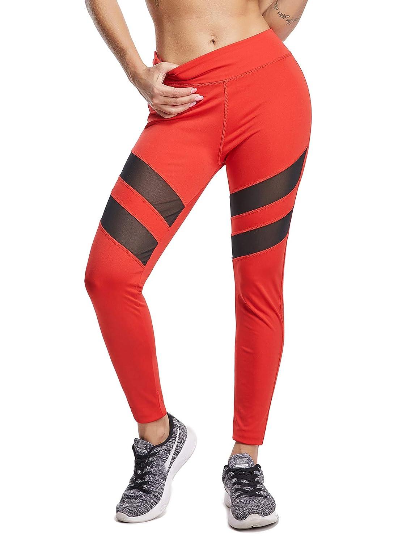 Womens Mesh Panel Side High Waist Leggings Skinny Workout Stretchy Yoga Pants Sport Tights