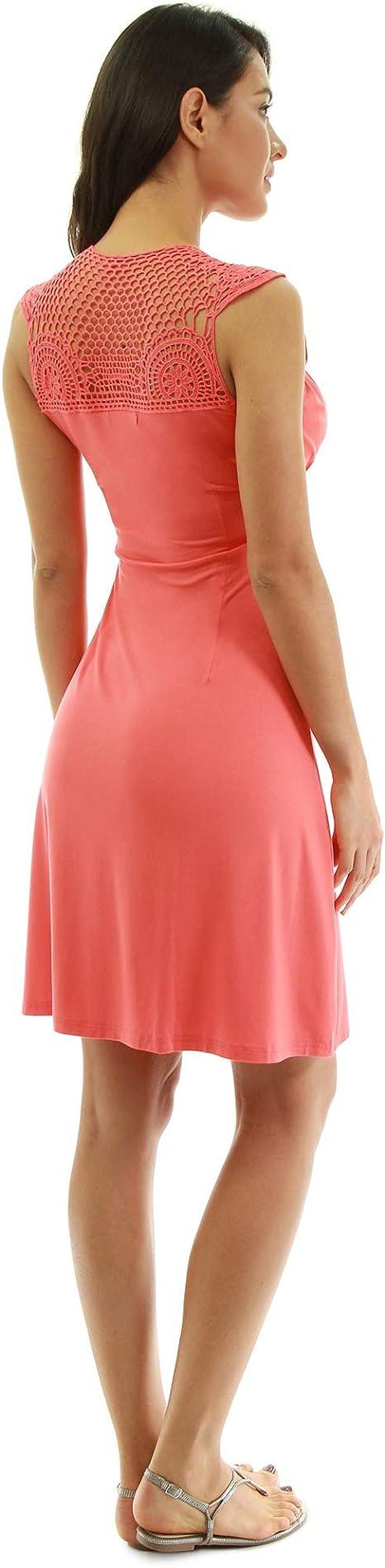 Pattyboutik Damen Hakelspitze Einsatz Fit Und Flare Kleid Amazon De Bekleidung