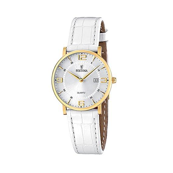 FESTINA F16479/3 - Reloj de mujer - correa de piel - color blanco: Amazon.es: Relojes