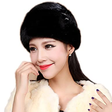 90f2e831f72ae URSFUR Mink Fur Roller Hat with Mink Rosette and Top (One Size ...