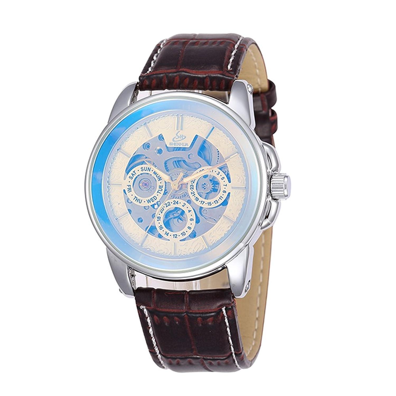 SHENHUAファッションメンズコーティングガラスAuto Mechanicalレザーストラップカジュアルスタイル腕時計 B06Y45YQFY