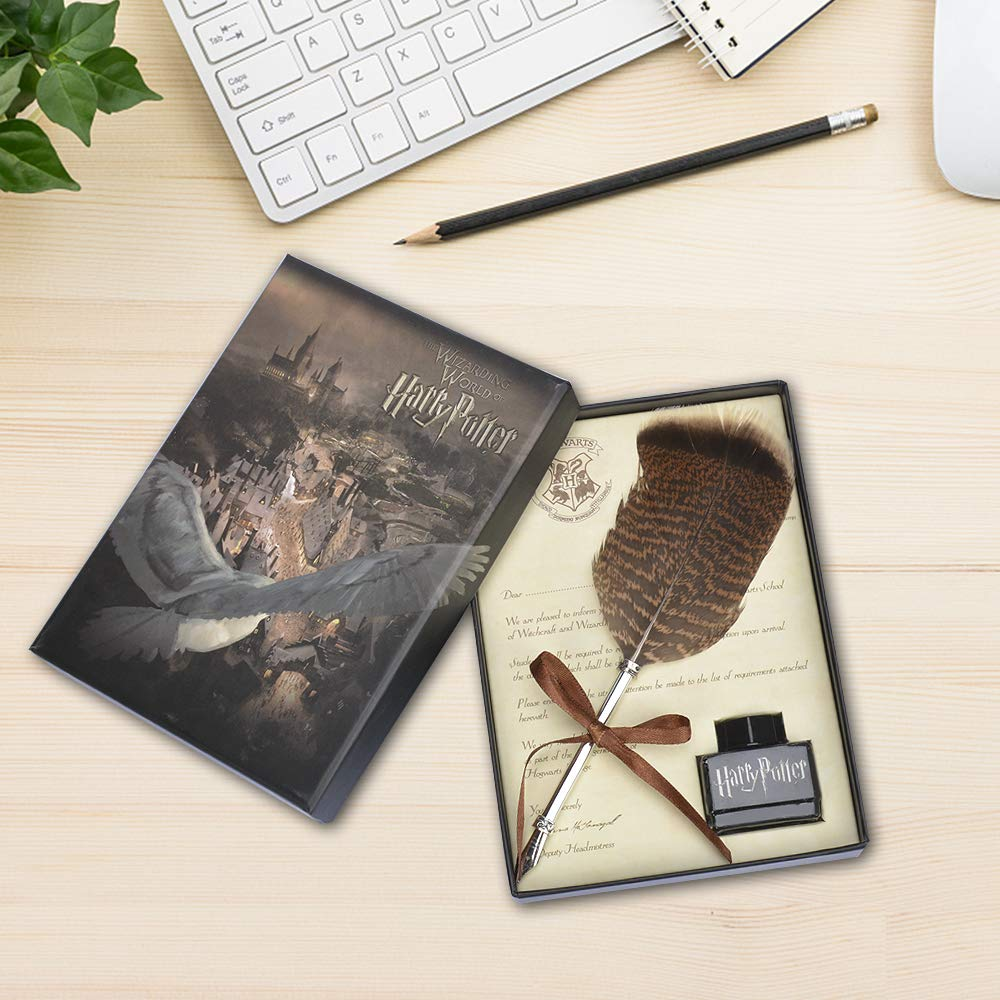 FunSponsor Antique Feather Dip Pen Set, Harry Potter Writing Quill Ink Dip Pen Set Great for Thanksgiving Day Christmas Gifts (Black)