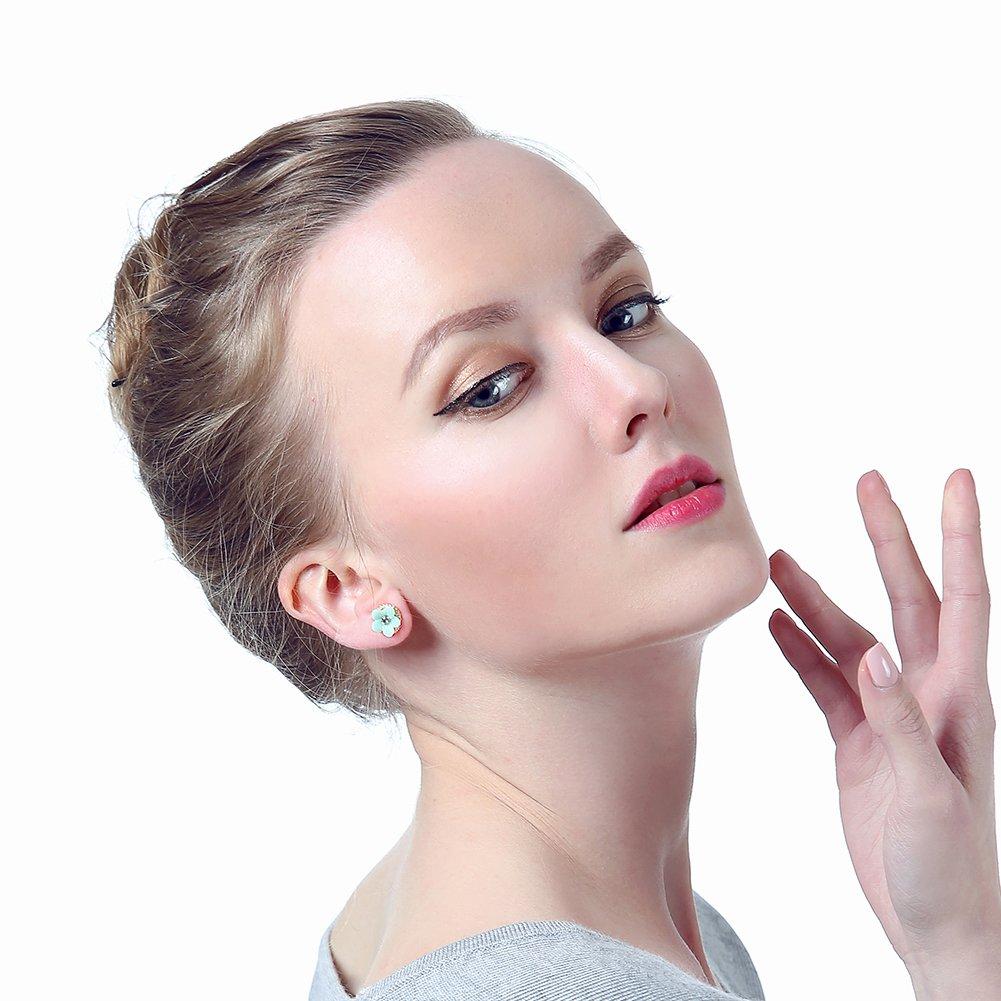 Onnea Gold Tone Cute Bird Butterfly Flower Green Earrings Set for Girls Hypoallergenic