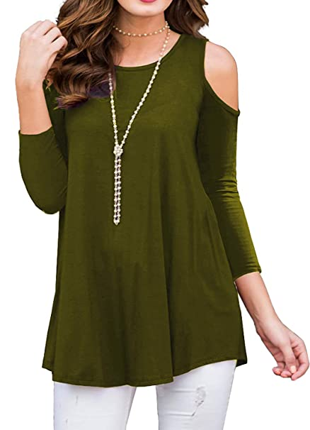 fcd6437d1f7b7d BLUETIME Womens 3/4 Sleeve Cold Shoulder Tunic Top for Leggings Tunics  Blouse Shirt (