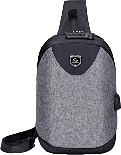 Deaman Petit Toile Chest Pack Stylish Biking Shoulder Backpack Résistant à l'eau Outdoor Sac de Poitrine Ipad Homme Sac Bandoulière