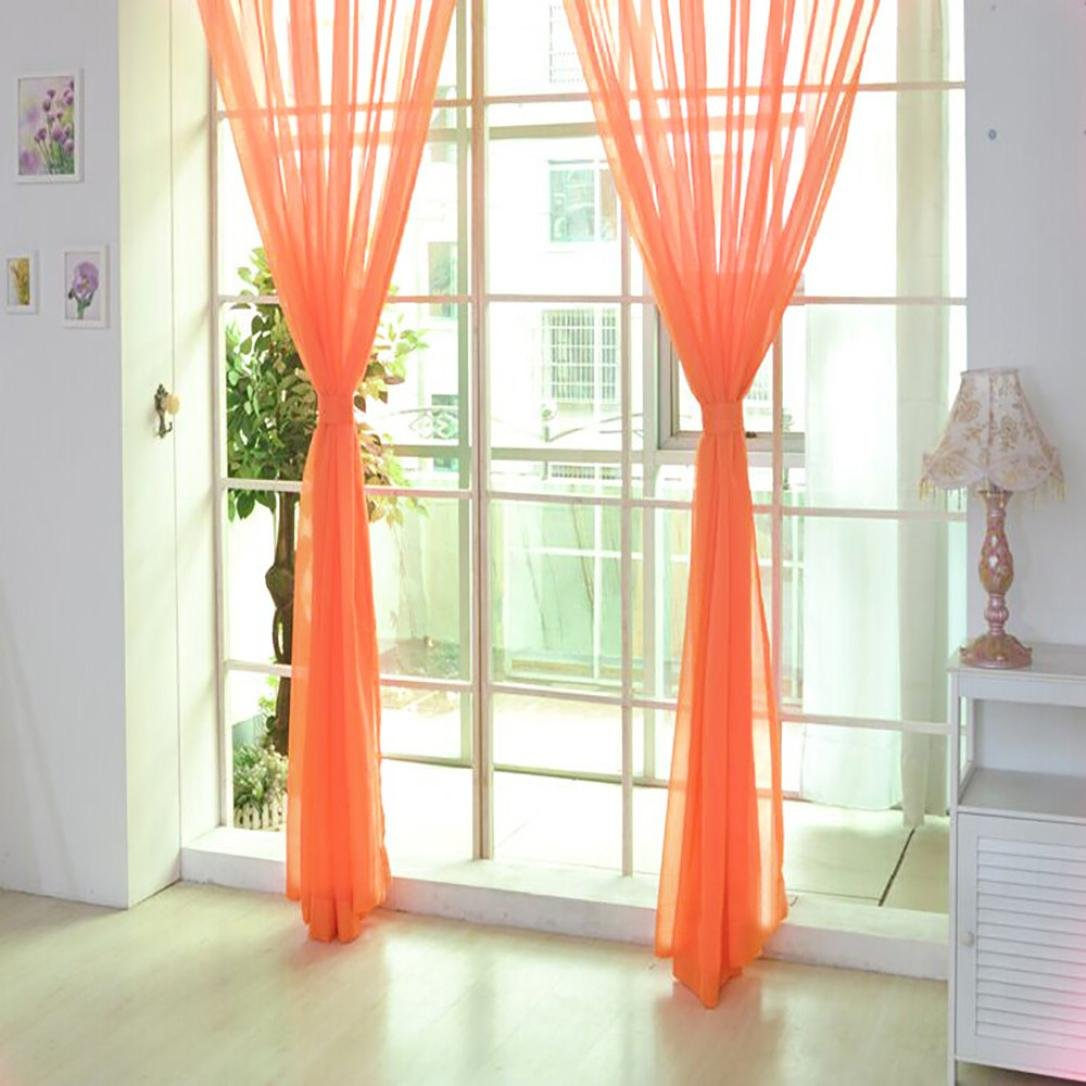 Qisc Home Decoration 1 Pieces Sheer Curtains Window Treatment Rod Pocket Tulle Sheer Voile Curtains/Drapes/Panels (Multicolor F)