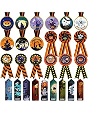 27 Pieces Halloween Medal Trophies and Trophy Ribbons Costume Contest Award Ribbons Halloween Party Costume Contest Witch Ghost Bats Skeleton Pumpkin Medal Trophies Trophy Ribbons Award Ribbons