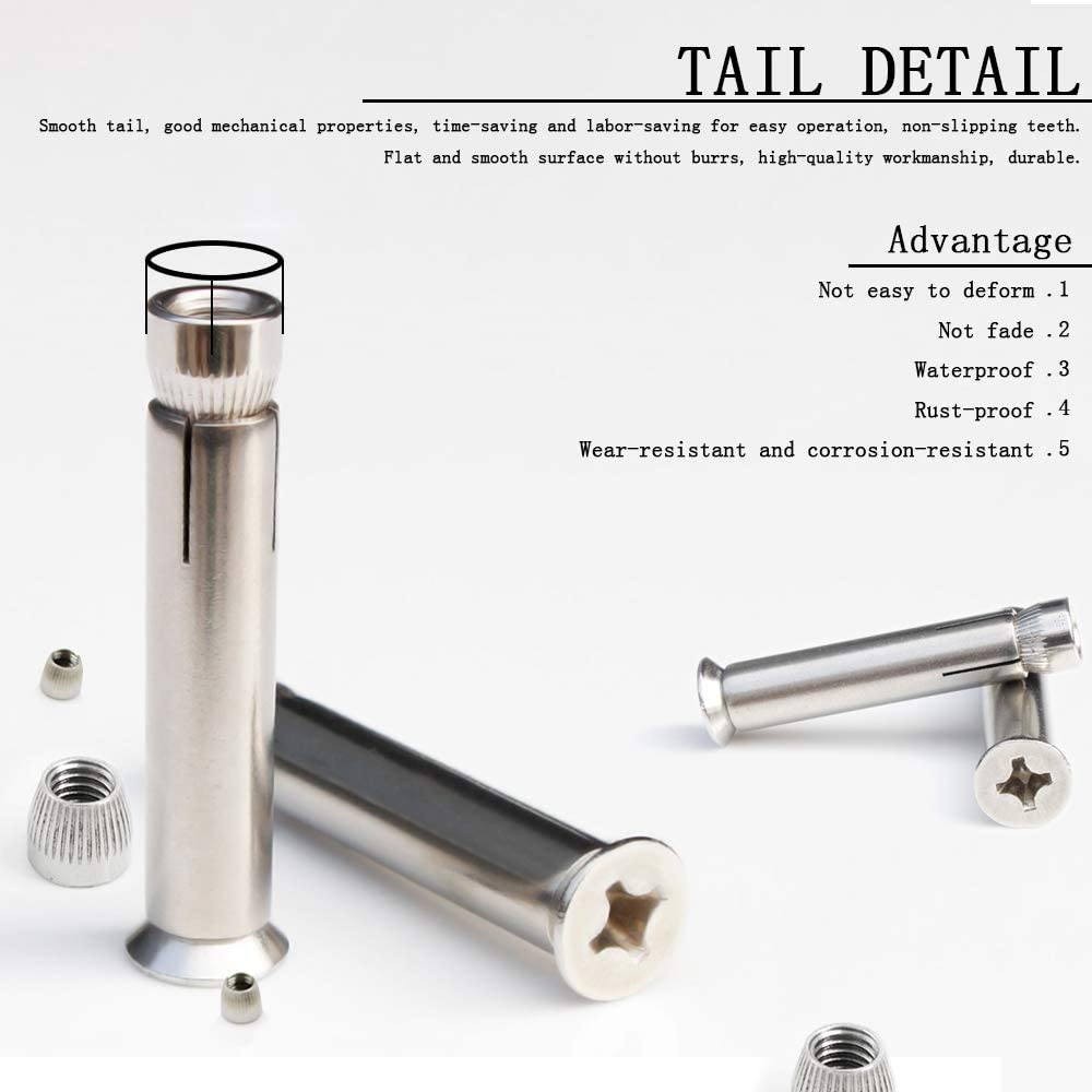 DAZISEN M10 Thread Expansion Bolt Sleeve Anchor 4pcs,Stainless Steel Phillips Head Expansion Screw